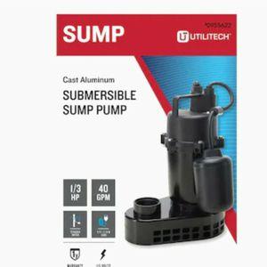 Utilitech0.33-HP Aluminum Submersible Sump Pump Model #148010 for Sale in Harlingen, TX