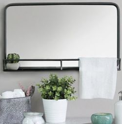 """New silver metal framed wall mirror with shelf 24""""x14"""" 4""""D multi functional office to bathroom. for Sale in Fort Lauderdale,  FL"""
