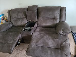 Couch and love seat recliners with charging pot for Sale in Burlington, MA