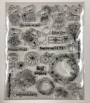 30 Piece Clear Cling Stamps - Bears Flowers Birthday Love Thanks Congrats for Sale in Rives Junction, MI