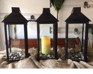 Set of 3 Indoor/Outdoor Candle Holders for Sale in Addison, TX