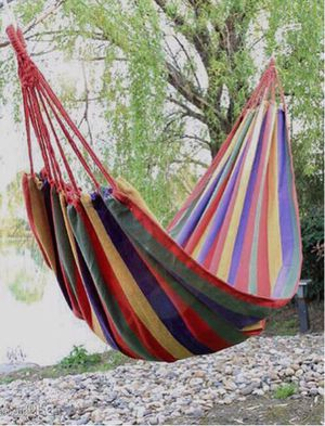New in box LIMIT 1 PER CUSTOMER 220 lbs weight capacity 110x32 inches canvas fabric red or grey stripe hammock with carrying bag hamaca for Sale in Covina, CA