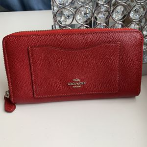 Red Coach Wallet Leather Authentic Bright Red Classy Well Made Fine Looking for Sale in Sterling, VA