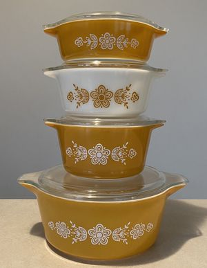 Vintage Butterfly Gold Pyrex Dishes Lot Set with Lids for Sale in Columbus, OH