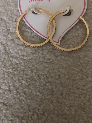 Brand new 14k gold plated brass hoop earrings with encrusted diamonds for Sale in Arvada, CO