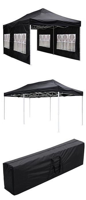 New in box $190 Heavy-Duty 10x20 Ft Outdoor Ez Pop Up Party Tent Patio Canopy w/Bag & 6 Sidewalls, Black for Sale in Santa Fe Springs, CA