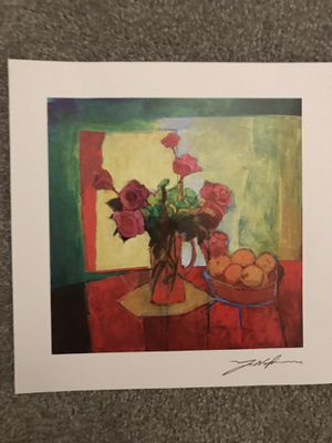 Serial lithograph titled Breakfast Table. Yuval Woodson is artist. This is a Park West print. Certificate of Authenticity is included. 7x7 Signed i for Sale in Pittsburgh, PA
