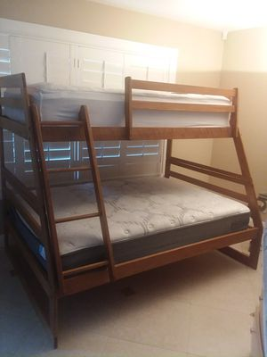 Solid wood twin bed over full bunk bed with matres for Sale in San Dimas, CA