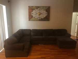 Brown cloth sectional couches for Sale in Tampa, FL