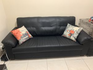 IKEA black faux leather couch (like new) for Sale in Hollywood, FL