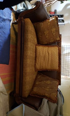 Beautifully, carved wood leather and cloth couch for Sale in Dallas, TX