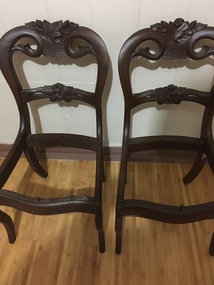 """33"""" Tall Antique Pair Cherry Wood Chairs for Sale in Fort Pierce, FL"""