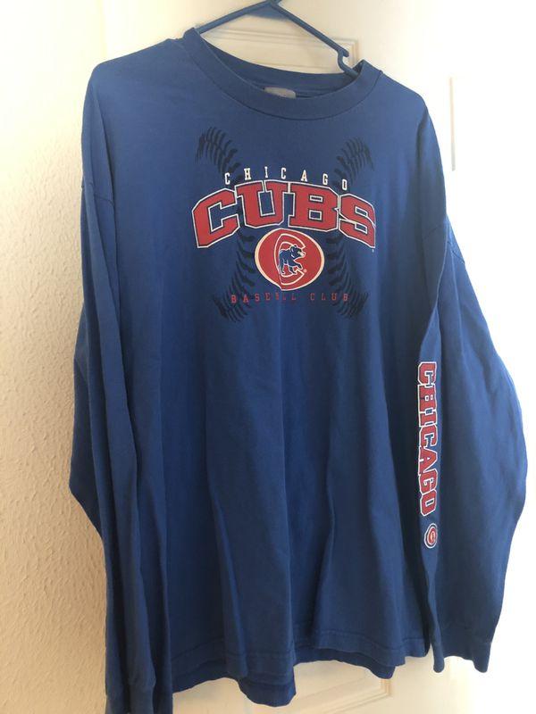 2x lot: short sleeve & long sleeve Cubs shirts