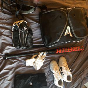Softball Helmet, bag, glove, gloves, bat, cleats, and pants for Sale in Carrollton, TX