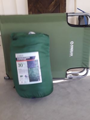 Folding Cot + Sleeping Bag (Never Used!!) for Sale in Matthews, NC