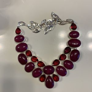 """New ruby tourmaline sterling silver 16-18""""necklace for Sale in Palatine, IL"""