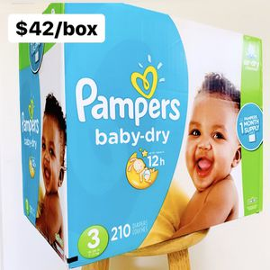 Size 3 (16-28 lbs) Pampers Baby Dry (210 diapers) - $42/box for Sale in Anaheim, CA