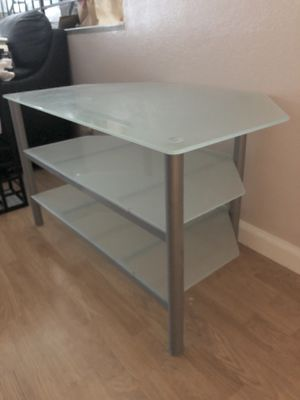 Glass/Silver Metal TV Stand for Sale in Union City, CA