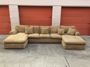 Tan Microfiber Double Chaise Lounge Sectional Couch -I can deliver for Sale in San Diego, CA