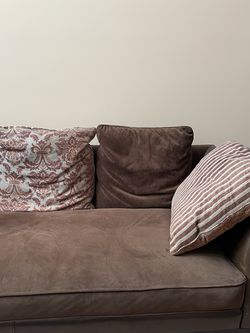Brown Leather And Suede Couch And Large Chair for Sale in Southfield,  MI