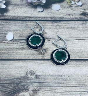 Green 925 sterling silver earrings, real silver for Sale in Whittier, CA