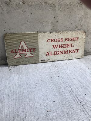 1950s Alemite Wheel Alignment Sign for Sale in Seattle, WA