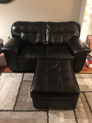 Two black couches and ottoman for Sale in Washington, DC