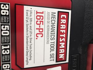 Craftsman, mechanics tool set ,165-PC. Life time warranty,no piecies missing,tools has not been used. for Sale in Florence, KY