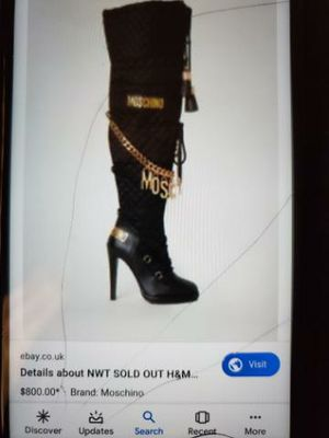 Knee high moschino boots with gold charms spelling out moschino worn 2 times for Sale in Huntington Beach, CA