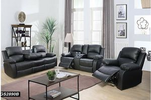 Reclining set 3pc Black leather for Sale in Kent, WA