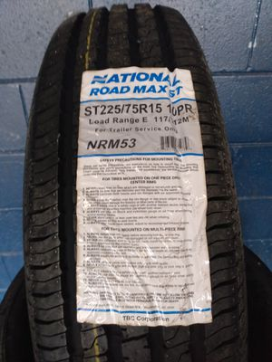 New st 225-75-15 National Road Max Trailer Tires for Sale in Pinellas Park, FL