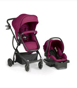 Evenflow Urbini Omni Travel system with LiteMax Infant Car Seat Raspberry Fizz Pink for Sale in Peoria, AZ