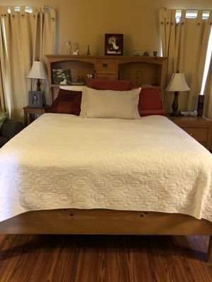All Wood Bed Frame with Tempurpedic Mattress for Sale in Hackettstown, NJ