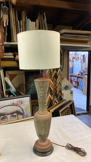 """Vintage brass copper table lamp Moroccan or Iran Middle East tall 30"""" to lamp 38"""" to shade table lamp detailed flowers on base for Sale in Los Angeles, CA"""