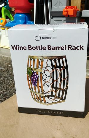 NEW IN BOX Wine Bottle Barrel Rack hold 10 bottles. for Sale in Marysville, WA