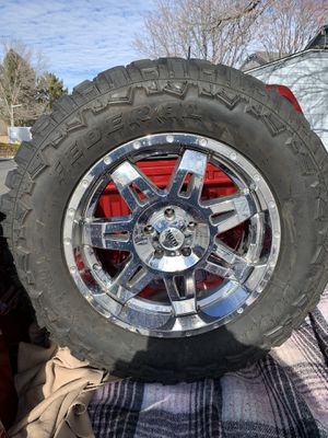 """20"""" Moto Metal wheels and tires For Jeep Wrangler for Sale in Denver, CO"""