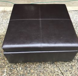 Dark Brown Leather Ottoman With Storage Inside. for Sale in Bothell,  WA