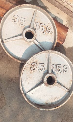 2 - 35 lbs weights for Olympic bar for Sale in Anaheim, CA