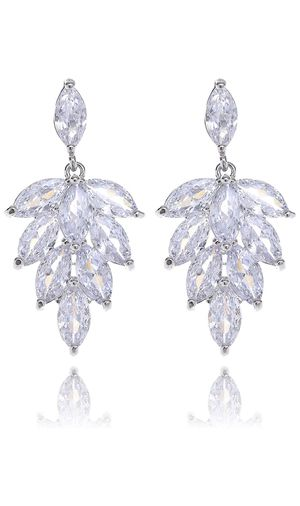 Cubic Zirconia Earrings - 14k White Gold Plated Marquise CZ Crystal Rhinestone Floral Leaf Cluster Earrings Bridal Jewelry for Bride Bridesmaids Moth for Sale in Bellevue, WA