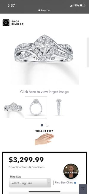 LEO CERTIFIED DIAMONDS KAY JEWELRY Life warranty and proof you can change ring size if needed when purchase currently size 8 for Sale in Hayward, CA