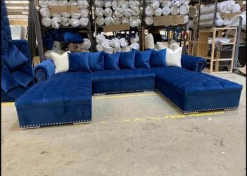 SAME DAY DELIVERY ✳Brand New Blue/Velvet Navy Double Chaise Sectional✳Couch, Sofa, Living Room》39 Down Payment for Sale in Houston,  TX