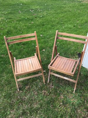Two solid wood folding chairs $30 for Sale in Varna, IL