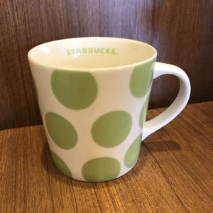 STARBUCKS 2005 White Lime Green Polka Dot heavy Coffee Mug Cup for Sale in Oceanside, CA