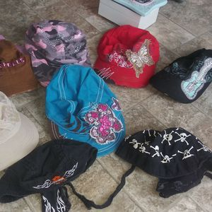 6 Ladies Hats And 2 Head Scarfs For Motorcycle Riding for Sale in Hoquiam, WA