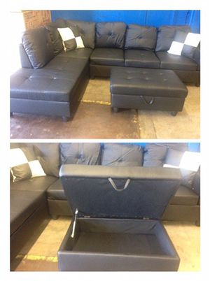 Black leather sectional couch with storage ottoman for Sale in Ridgefield, WA