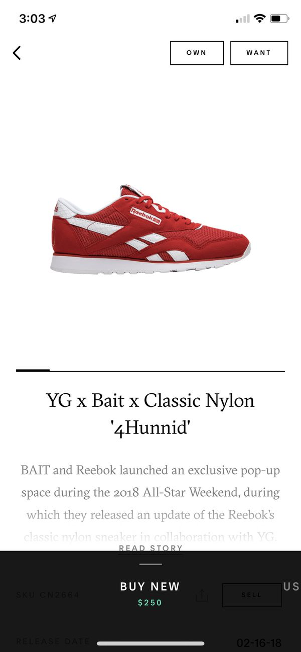 a904d8c98e2 Open in the AppContinue to the mobile website. YG x Reebok Classic Nylon   4Hunnid  Kevlar Red 400 Size 8 ...