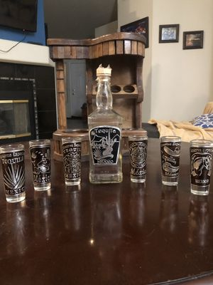 Tequila bottle and 6 shot glass collection. for Sale in Las Vegas, NV
