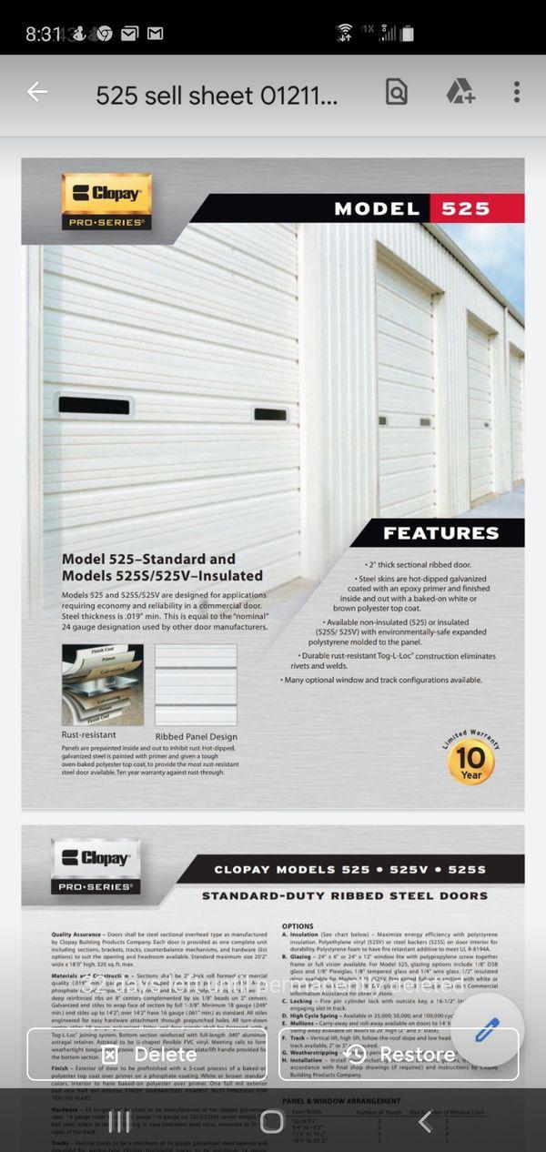 Clopay 525 garage door 12'-2x8