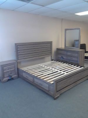 4PC EASTERN KING BEDROOM SET: EASTERN KING BED FRAME, DRESSER, MIRROR, NIGHTSTAND--WASHED TAUPE for Sale in North Highlands, CA