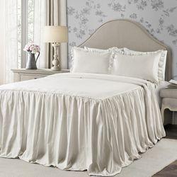 Lush Decor Ticking Stripe Ruffle Detail Polyester Bedspread, Full, Wheat, 3-Pc Set for Sale in Houston,  TX